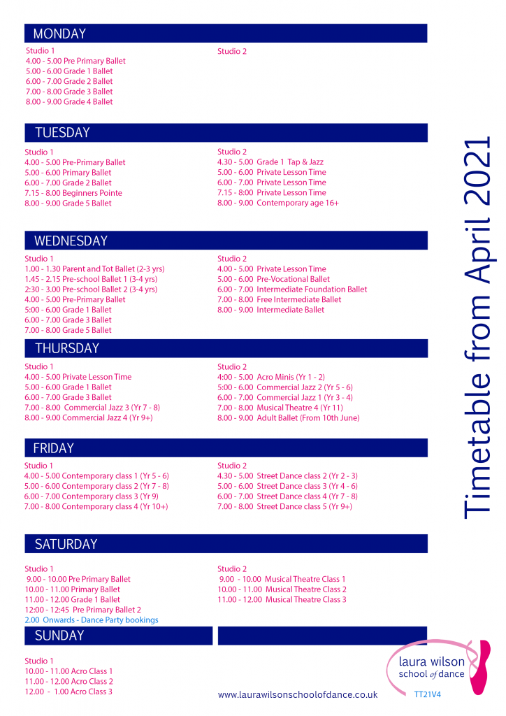 LWSD Timetable V4 from April 2021
