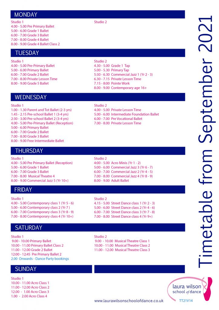LWSD Timetable from September 2021